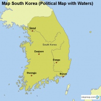 Map South Korea (Political Map with Waters)