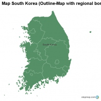 Map South Korea (Outline-Map with regional borders)