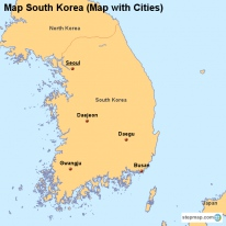 Map South Korea (Map with Cities)