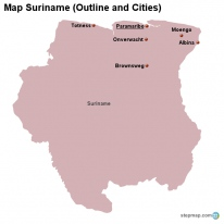 Map Suriname (Outline and Cities)