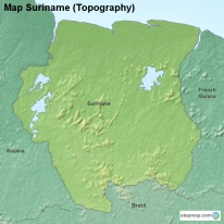 Map Suriname (Topography)