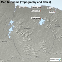 Map Suriname (Topography and Cities)