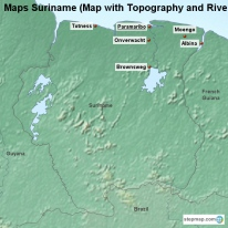Maps Suriname (Map with Topography and Rivers)