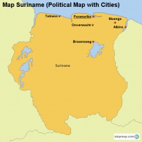 Map Suriname (Political Map with Cities)