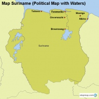 Map Suriname (Political Map with Waters)