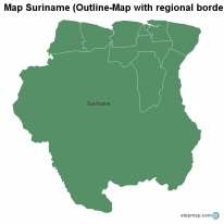 Map Suriname (Outline-Map with regional borders)