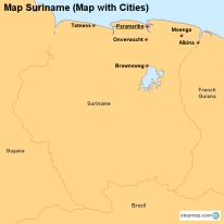Map Suriname (Map with Cities)