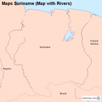 Maps Suriname (Map with Rivers)