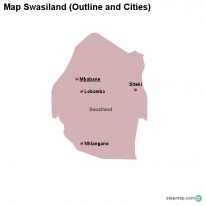 Map Swasiland (Outline and Cities)