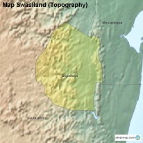 Map Swasiland (Topography)