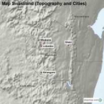 Map Swasiland (Topography and Cities)