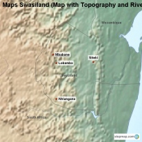 Maps Swasiland (Map with Topography and Rivers)