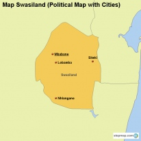 Map Swasiland (Political Map with Cities)