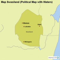 Map Swasiland (Political Map with Waters)
