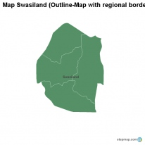 Map Swasiland (Outline-Map with regional borders)