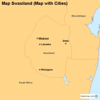 Map Swasiland (Map with Cities)