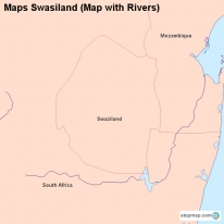 Maps Swasiland (Map with Rivers)