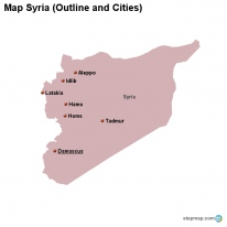 Map Syria (Outline and Cities)