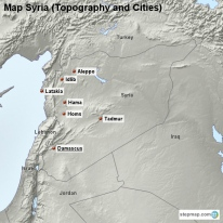 Map Syria (Topography and Cities)