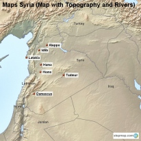 Maps Syria (Map with Topography and Rivers)