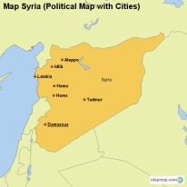 Map Syria (Political Map with Cities)