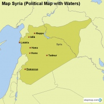Map Syria (Political Map with Waters)