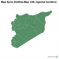 Map Syria (Outline-Map with regional borders)