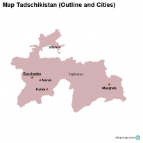 Map Tadschikistan (Outline and Cities)