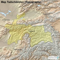 Map Tadschikistan (Topography)