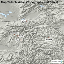 Map Tadschikistan (Topography and Cities)