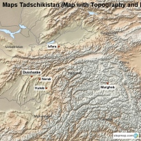 Maps Tadschikistan (Map with Topography and Rivers)