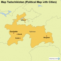 Map Tadschikistan (Political Map with Cities)