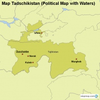 Map Tadschikistan (Political Map with Waters)
