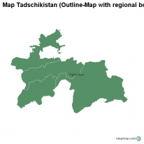 Map Tadschikistan (Outline-Map with regional borders)
