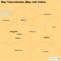 Map Tadschikistan (Map with Cities)