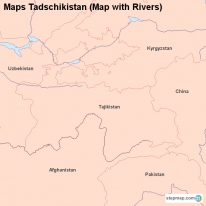 Maps Tadschikistan (Map with Rivers)