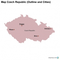 Map Czech Republic (Outline and Cities)