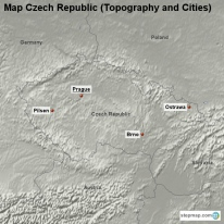 Map Czech Republic (Topography and Cities)