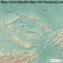 Maps Czech Republic (Map with Topography and Rivers)