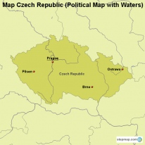 Map Czech Republic (Political Map with Waters)