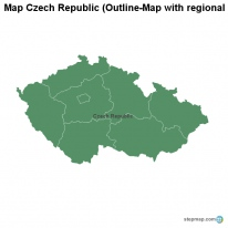 Map Czech Republic (Outline-Map with regional borders)
