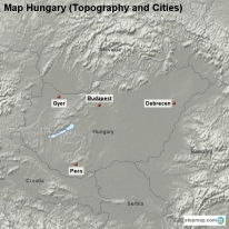 Map Hungary (Topography and Cities)