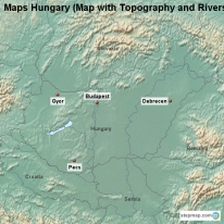 Maps Hungary (Map with Topography and Rivers)