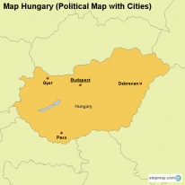 Map Hungary (Political Map with Cities)