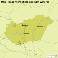 Map Hungary (Political Map with Waters)