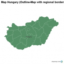 Map Hungary (Outline-Map with regional borders)