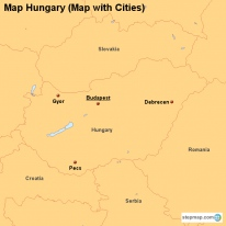 Map Hungary (Map with Cities)