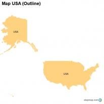 StepMap Maps For USA - Usa outline