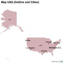 Map USA (Outline and Cities)