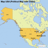 Map USA (Political Map with Cities)